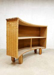 Midcentury rattan tiki bar cabinet bamboo woven wicker cocktail bar krukken vintage design