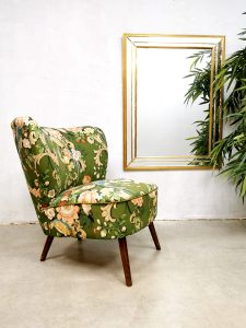 Midcentury Dutch design cocktail chair expo club fauteuil 'Botanical birds'