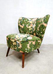 Midcentury Dutch design cocktail chair expo club fauteuil 'Botanical birds'