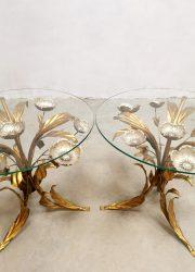 Vintage brass Gilt Metal and Glass Side Table salontafel Hans Kögl
