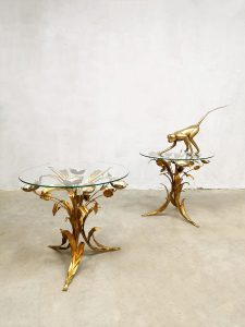 Vintage brass Gilt Metal and Glass Side Table salontafel Hans Kögl