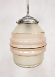 Vintage pendant hanglamp glass Art Deco 'soft Pink'