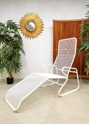 Vintage draadfauteuil ligbed, midcentury modern metal wire chaise lounge