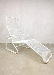 Vintage draadfauteuil ligbed, midcentury modern metal wire chaise lounge garden set chair metal