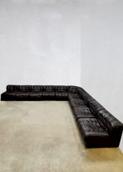 vintage leren modulaire lounge bank De Sede DS 11 modular sofa midcentury modern eclectic
