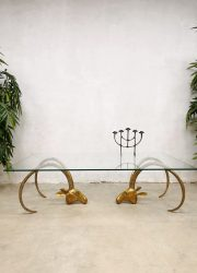 Midcentury design coffee table messing ram salontafel 'Majestic brass ibex heads'