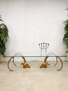 Midcentury design coffee table messing ram salontafel 'Majestic brass ibex heads'