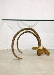 vintage brass coffee table ibex heads ram hoofden salontafel