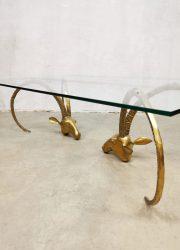 ibex heads brass coffee table luxury salontafel