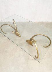 midcentury design brass ibex coffee table messing ram salontafel