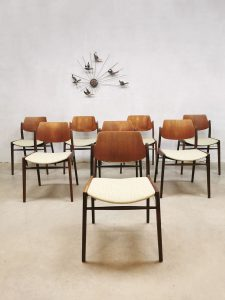 Vintage teakwood dining chairs eetkamerstoelen H. Lohmeyer Wilkhahn