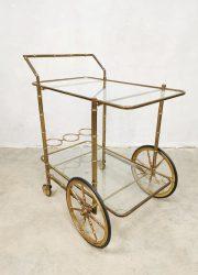 vintage brass italian trolley liquor cabinet serveerwagen