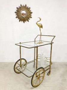 Vintage brass bamboo bar cart trolley liquor cabinet serveerwagen