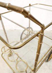 vintage eclectic brass serveerwagen trolley bar cart