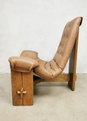 vintage brutalist leather lounge easy chair fauteuil