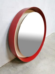 midcentury red mirror lamp verlichte spiegel 2
