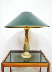 Midcentury onyx marble table lamp marmeren tafellamp 'Green spirit'