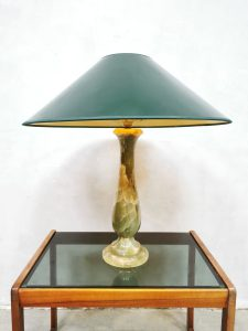 Midcentury onyx marble table lamp marmeren tafellamp 'Green spirit'