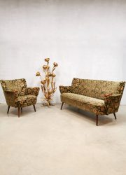 Vintage cocktail sofa armchair set 'fifties baroque flower dessin'