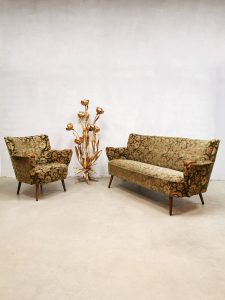 Vintage cocktail sofa armchair set 'fifties baroque flower dessin'