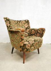 vintage cocktail armchair baroque dessin velours