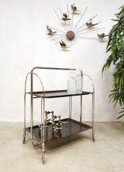 Vintage 'Dinette' foldable trolley liquor cabinet serveerwagen Bremshey & Co