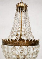 vintage kroonluchter Brass Chandelier Crystal Glass