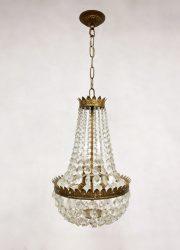 Antique Belgian gold gilded chandelier kroonluchter 'Petit chrystal luxury'