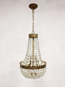 Antique Belgian gold gilded chandelier kroonluchter 'Petit chrystal luxury'