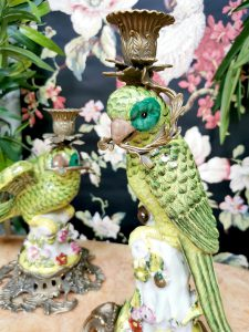Art Nouveau brass candle holders parrot ceramic vintage kandelaar papegaai porselein