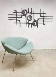 Artifort orange slice easy chair lounge fauetuil Pierre Paulin F437 'ice blue'