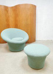 F560 vintage mushroom lounge stoel ottoman sixties Pierre Paulin poef Artifort