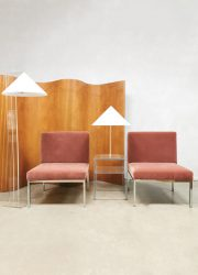 pink velvet sofa chairs loveseat Dutch design