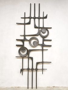Brutalist wall art sculpture vintage wanddecoratie '70's statement piece'