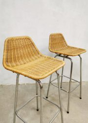 Vintage rattan barstools rotan barkrukken Rohe Noordwolde