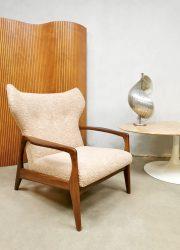 Midcentury Danish design wingback armchair lounge fauteuil boucle sheepskin