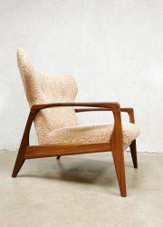 Lounge arm chair vintage Danish wingback sixties midcentury Deense oor fauteuil