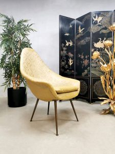 Midcentury Italian design easy chair lounge fauteuil 'Gold touch baroque print'