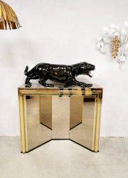 Midcentury design brass mirrored console wandkasten '70's Hollywood Glamour'