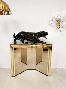 Midcentury design brass mirrored console wandkasten '70's Hollywood Glamour'