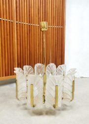 Midcentury design chandelier Murano glass leaves Carl Fagerlund Orrefors