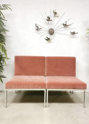 vintage Dutch design minimalism pink velvet sofa love seat