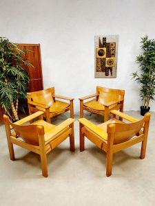 Vintage safari arm chairs 'Natura' lounge fauteuils Karin Mobring