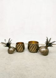vintage fifties brass ice bucket pineapples messing ananas