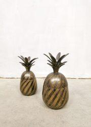 Midcentury vintage antique decorative brass pineapple ice bucket box messing ananas ijsemmertje