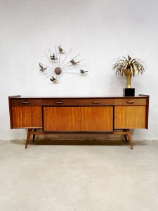 Vintage teakwood Dutch design sideboard dressoir wandkast