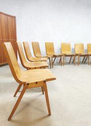 Vintage plywood stacking chairs eetkamerstoelen Ronald Rainer