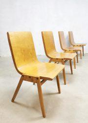 midcentury plywood chairs stacking stapelbare stoelen Ronald Rainer