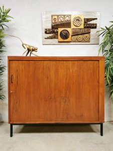 Midcentury tambour sliding door cabinet kast 'Tidy up minimalism'