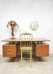 Vintage Dutch design brass desk bureau Poly Z walnut Zijlstra A A Patijn